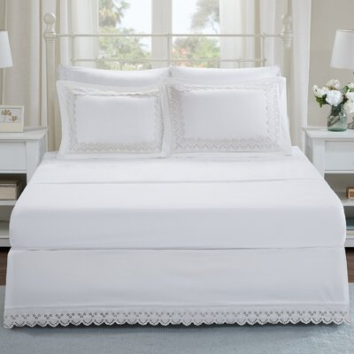 Jorie Floral Eyelet Embroidered Shams and Bed Skirt Set Size: Full, Color: White