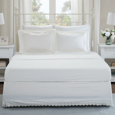 Lalie Eyelet Embroidered Shams and Bed Skirt Set Size: Twin, Color: Ivory
