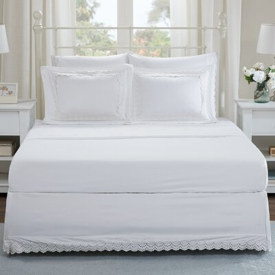 Lalie Eyelet Embroidered Shams and Bed Skirt Set Size: Queen, Color: White