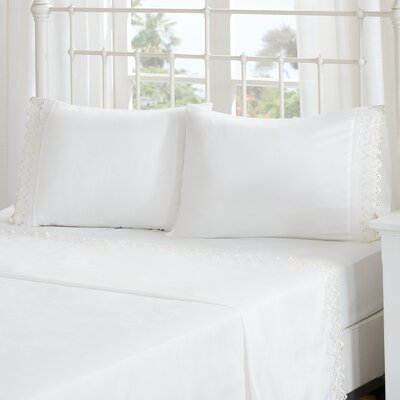 Ficoide Floral Eyelet Embroidered Sheet Set Size: Twin, Color: Ivory