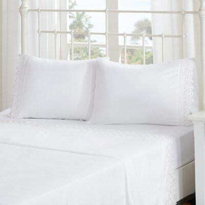 Ardina Floral Eyelet Embroidered Sheet Set Size: Full, Color: White
