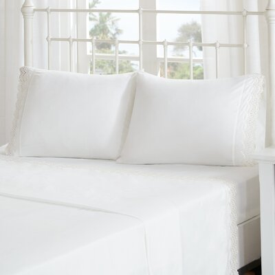 Lalie Scalloped Eyelet Embroidered Sheet Set Size: Twin, Color: Ivory