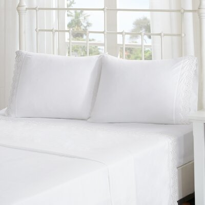 Lalie Scalloped Eyelet Embroidered Sheet Set Size: Full, Color: White
