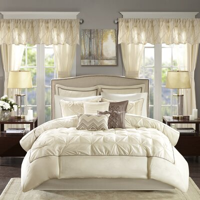 Conrad 24 Piece Bed-In-a-Bag Set Size: California King, Color: Ivory