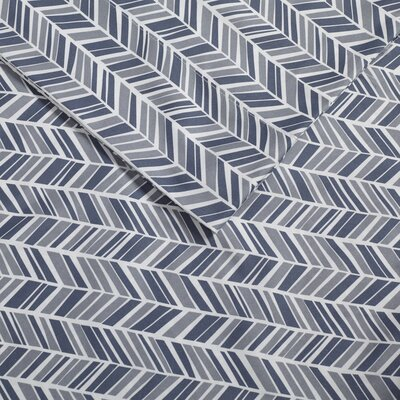 Ervin Chevron Printed Sheet Set Size: Twin, Color: Blue