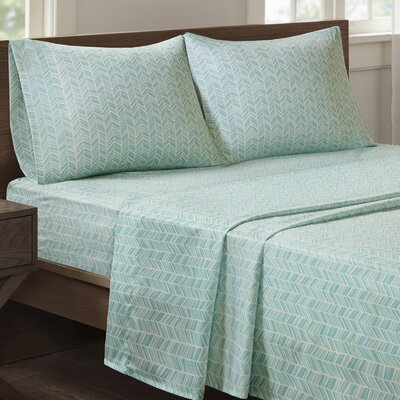 Suzette Chevron Printed Sheet Set Size: Full, Color: Light Blue