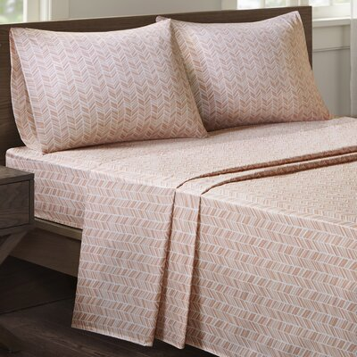 Suzette Chevron Printed Sheet Set Size: King, Color: Pink