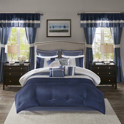 Alton 24 Piece Room Size: California King, Color: Navy