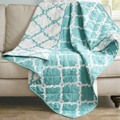 Anawalt Reversible Quilted Throw Color: Aqua
