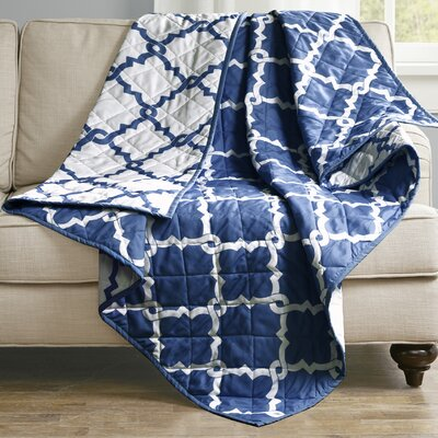 Anawalt Reversible Quilted Throw Color: Indigo
