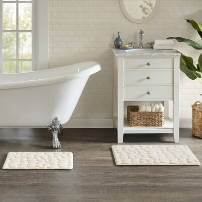 Emersyn Embossed Memory Foam Bath Rug Size: 20 L x 30 W, Color: Ivory
