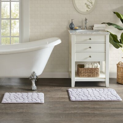 Emersyn Embossed Memory Foam Bath Rug Size: 16 L x 24 W, Color: Gray