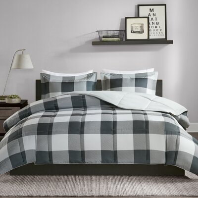 Dyana Scotchgard Down Alternative 3 Piece Comforter Set Size: Twin/Twin XL, Color: Gray/Black