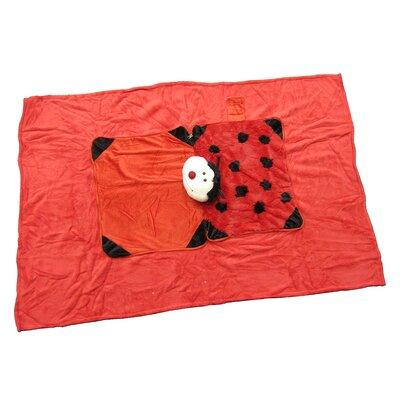 Ladybug Polyester Plush Pillow and Blanket