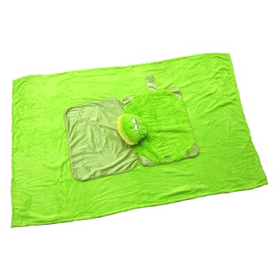 Frog Polyester Plush Pillow and Blanket