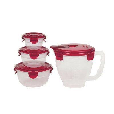 Pinch and Measure Measuring Bowl 4 Container Food Storage Set HPR141305RD