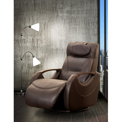 Losoya Leather Manual Swivel Recliner Upholstery: Brown