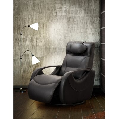 Losoya Leather Manual Swivel Recliner Upholstery: Black