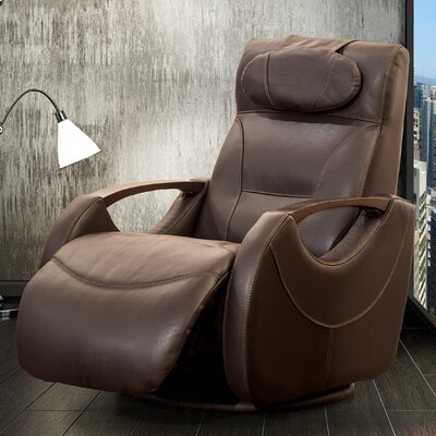 Isaac Leather Manual Swivel Recliner Color: Brown