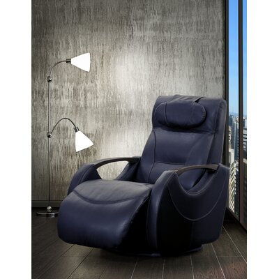Losoya Leather Manual Swivel Recliner Upholstery: Blue