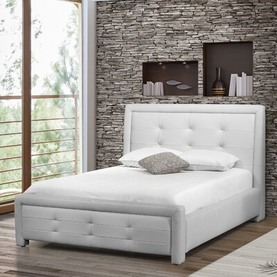 Claar Upholstered Platform Bed Color: White, Size: Queen