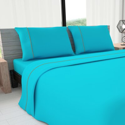 Novelty 625 Thread Count Cotton Sheet Set Size: King, Color: Turquoise