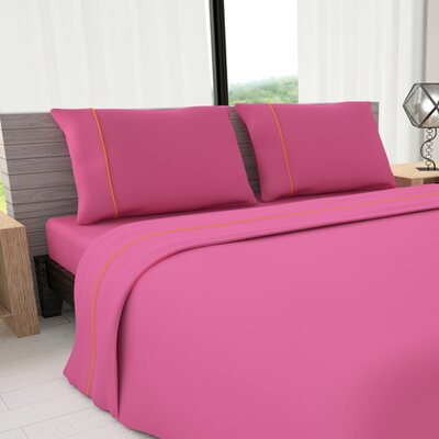 Novelty 625 Thread Count Cotton Sheet Set Size: King, Color: Fuchsia