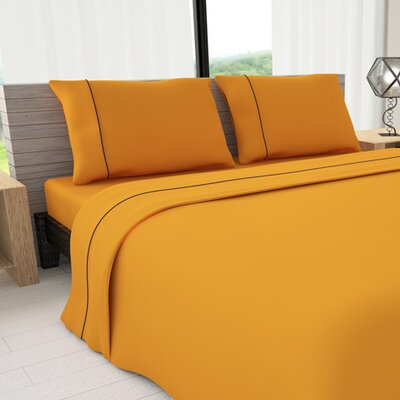 Novelty 625 Thread Count Cotton Sheet Set Size: Full, Color: Yellow