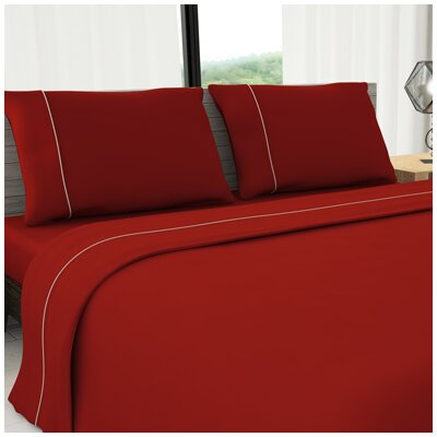 Novelty 625 Thread Count Cotton Sheet Set Size: King, Color: Red