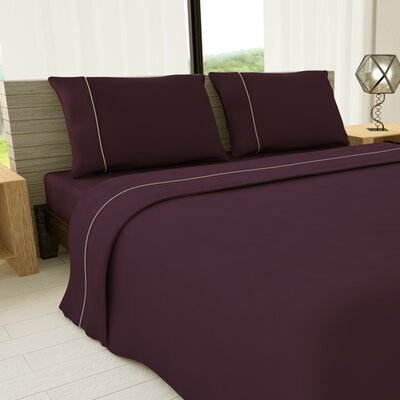 Novelty 625 Thread Count Cotton Sheet Set Color: Purple, Size: Twin