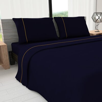 Novelty 625 Thread Count Cotton Sheet Set Size: King, Color: Oxford Blue