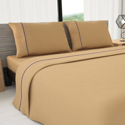Novelty 625 Thread Count Cotton Sheet Set Size: Full, Color: Tan