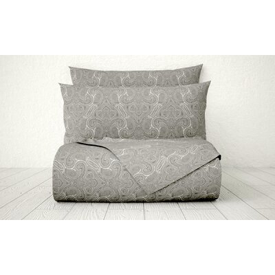 Xara 1800 Series Collection Printed Cotton Sheet Set Color: Gray, Size: Full