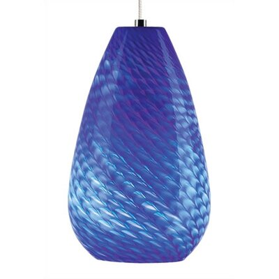 Honey 1-Light Mini Pendant Finish: Satin Nickel, Shade Color: Blue, Mounting Type: Rail