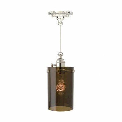 Clark 1-Light Mini Pendant Finish: Polished Nickel, Shade Color: Havana Brown