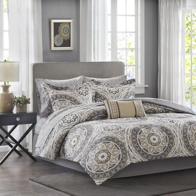 Almerton Comforter Set Size: California King, Color: Taupe