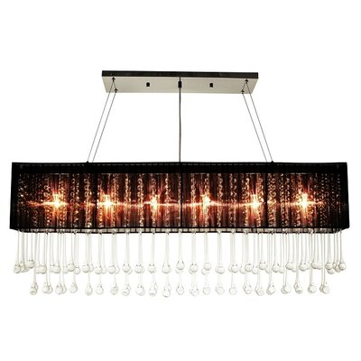 6-Light Kitchen Island Pendant Shade Color: Black