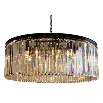 Sheba 12-Light Crystal Chandelier Glass Color: Clear Glass