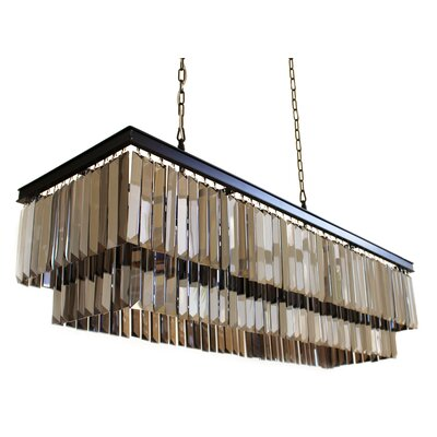 Sheba 8-Light Crystal Pendant Glass Color: Smoked Glass