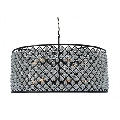 Cassiel 12-Light Drum Pendant Finish: Black