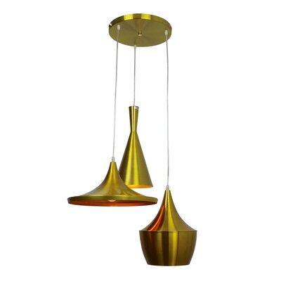 Astra 3-Light Cluster Pendant Finish: Brass