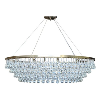 Jimmy Glass Drop 12-Light Crystal Chandelier Finish: Antique Brass