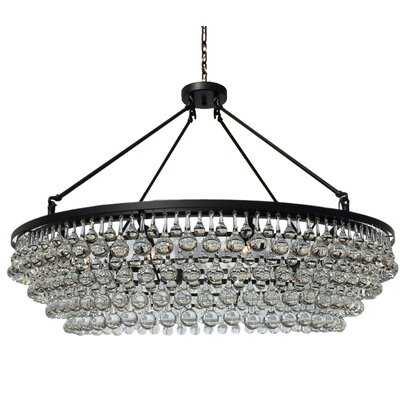 Jimmy 12-Light Crystal Chandelier Finish: Black, Size: 144 H x 48 W x 48 D