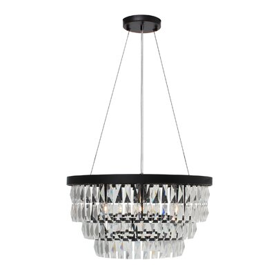Anwen Drum 6-Light LED Crystal Chandelier Finish: Black