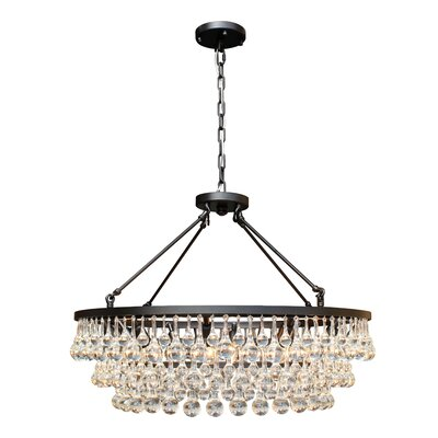 Sheneka 10-Light Crystal Chandelier Finish: Black