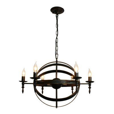 Covent Rustic 6-Light Candle-Style Chandelier