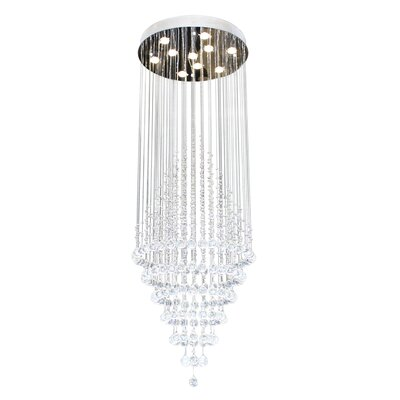 Woodhay Rainfall 10-Light LED Crystal Chandelier