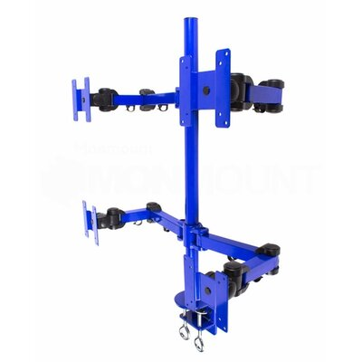 Stand Desk Clamp Height Adjustable 4 Screen Desk Mount Finish: Blue