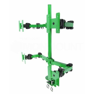 Stand Desk Clamp Height Adjustable 4 Screen Desk Mount Finish: Green