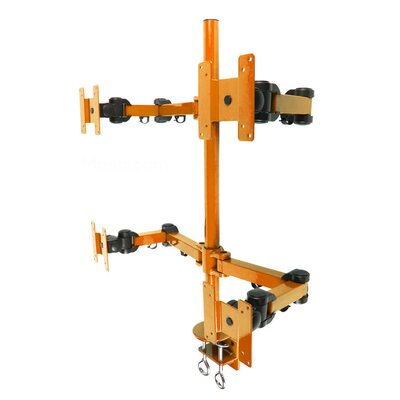 Stand Desk Clamp Height Adjustable 4 Screen Desk Mount Finish: Orange